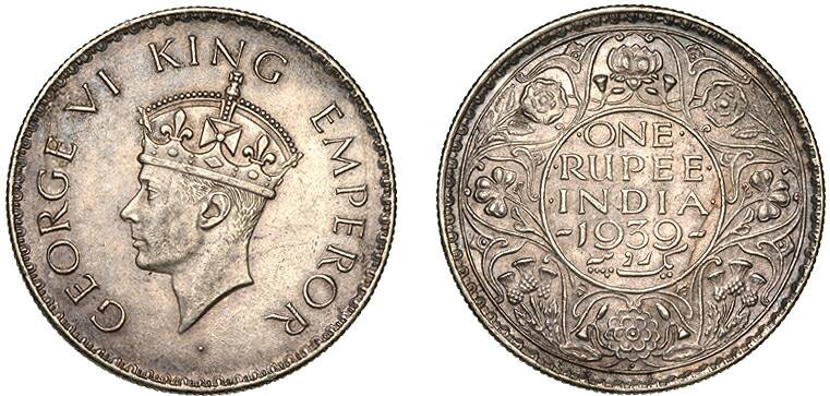 king george vi one rupee coin