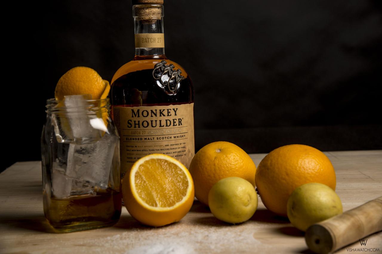 Monkey shoulder cocktail with orange