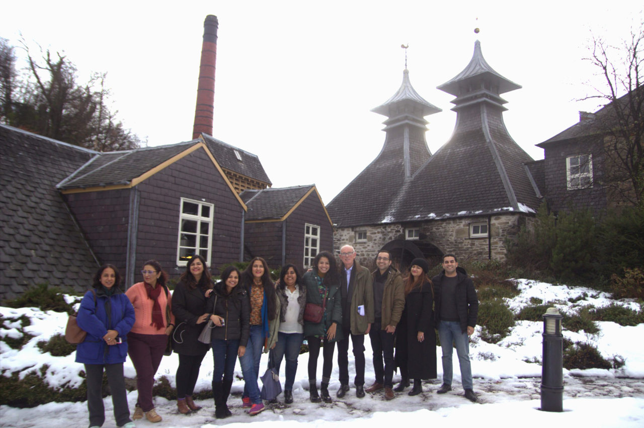 The whisky tourers with Colin Scott (fourth from right) and Vishesh Sahni, Founder, Vishawatch (extreme right) at Strathisla distillery in Scotland