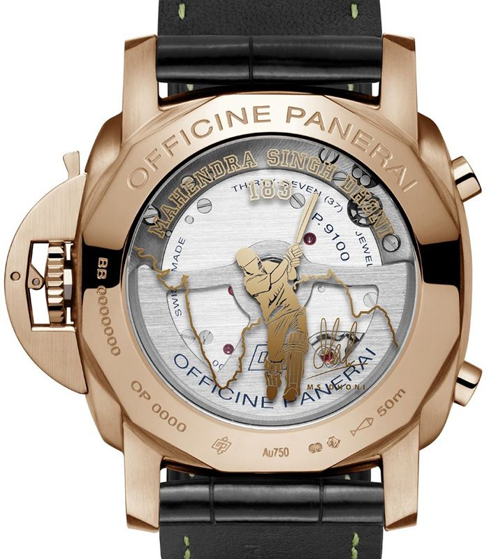 dhoni watch back 2 - Panerai plays the helicopter shot with MS Dhoni special edition watches